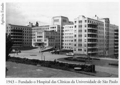 1943 - Fundação do Hospital das Clínicas da Universidade de São Paulo, na região entre avenida Rebouças, avenida Doutor Arnaldo e rua Teodoro Sampaio. Acervo do Instituto Moreira Salles.