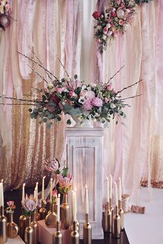 Gorgeous glittery gold staging with beautiful flowers in a pink palette—romantic Moscow wedding❣ Ruffled
