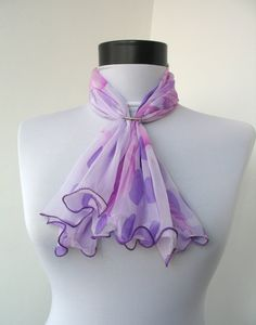 5-50% OFF SUMMER SALE - Silk Floral Small Scarf - Square Neck Scarflette - Lilac Crimson White Scarf/Necklace