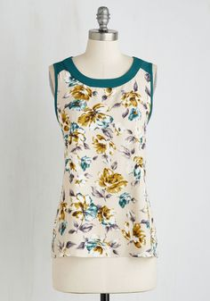 Botanical it a Day Top in Teal. You could spend a lifetime surrounded by the conservatorys flowers, especially when youre clad in this colorful tank top. #multi #modcloth