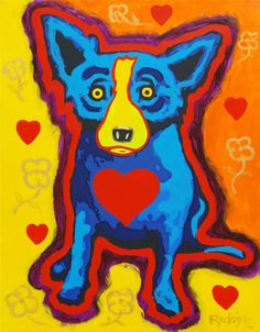 Red Heart Blue Dog