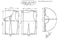 Molde do Vestido de Saia Godê tamanho 42.