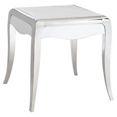 Auretta Polished Silver White Marble End Table | Kathy Kuo Home