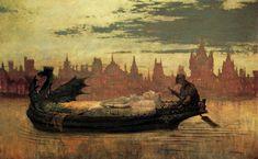"John Atkinson Grimshaw (1836-1893), ""The Lady of Shalott"""