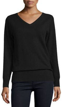 Shop Now - >  https://api.shopstyle.com/action/apiVisitRetailer?id=532443764&pid=uid6996-25233114-59 Neiman Marcus Cashmere Collection Long-Sleeve V-Neck Relaxed-Fit Cashmere Sweater  ...
