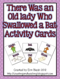 Swallowed a Bat Activity Cards free