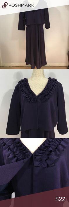 """Julian Taylor Dress & Jacket Set- Sz 16 Beautiful eggplant slip on styled midi dress with adorable matching jacket! Excellent condition 💜  Dress, armpit to armpit- 20"""". Length- 45"""". Jacket, armpit to armpit- 22 1/2"""". Length- 16"""". Shoulder pads are easily removable 💜💜 Julian Taylor Dresses Midi"""