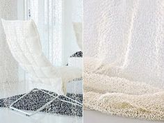 Woodnotes Veil curtain is hand knitted 100% paper yarn.