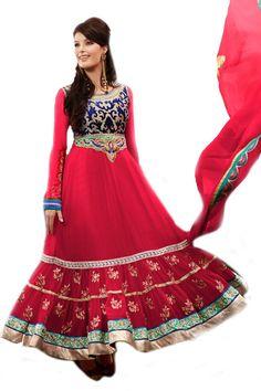 Shop Now - http://valehri.com/salwar-kameez/922-french-rose-symbolises-indianess-with-georgette-chiffon-velvet-yoke.html