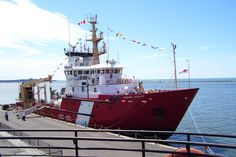 A better shot of the CCGS Samuel Risley, taken from the Mather's boat deck. The Risley has a reinforced bow allowing her to break ice up to two feet thick. Her normal duties are as a light ice breaker and buoy tender on the Great Lakes. The crane at the stern is used to hoist the buoys aboard for maintenance.
