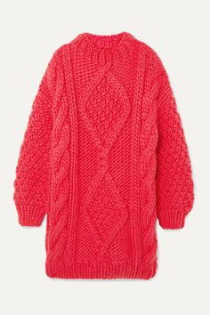 I Love Mr Mittens Diamond Oversized Cable-knit Wool Sweater In Pink Cable Knit Cardigan, Cable Knit Sweaters, Long Cardigan, Baby Pink Acrylics, I Love Mr Mittens, Vintage Clothing Online, Scandinavian Fashion, Pink Sweater, Knit Patterns