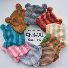 Baby 0 - 6 month Boy Girl Hat PHoTO PRoP Stripe ANiMal Beanie KNiT to ORDeR CaP Pick Colors Ears Bear Piglet Monkey Fox Cat ShOWeR Gift