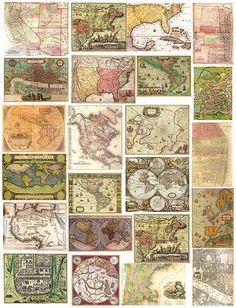 Vintage Maps Printables #printables #free #collage #sheets