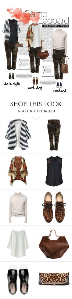 """""""Camo and Leopard"""" by dawn-scott ❤ liked on Polyvore featuring WithChic, Friis & Company, nooy by yoon, Rick Owens, Miu Miu, Christian Louboutin, Jérôme Dreyfuss and H&M"""