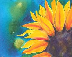 Watercolor sunflower love the color intensity could paint something like this for invites