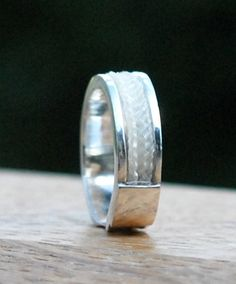 Custom horsehair ring sterling silver horsehair by Enigmahorse, Cute Jewelry, Jewelry Art, Silver Jewelry, Jewelry Accessories, Horse Hair Bracelet, Horse Hair Jewelry, Sterling Silver Rings, Gold Rings, Horseshoe Jewelry
