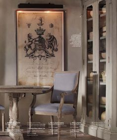 2013 Spring Catalog | Restoration Hardware LOVE glass cabinet and poster!