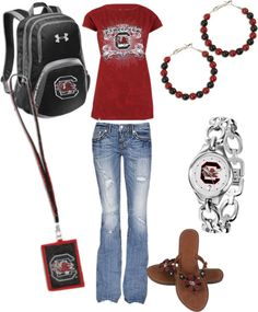 """""""Girls Gamecock Back To School Outfit"""" by jewelrywarehouse on Polyvore"""