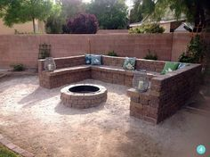 Fantastic Tips: Rectangle Fire Pit Hot Tubs fire pit gazebo how to build.Fire Pit Gazebo How To Build. Fire Pit Ring, Diy Fire Pit, Fire Pit Backyard, Backyard Patio, Backyard Landscaping, Fire Pits, Backyard Seating, Desert Backyard, Patio Wall