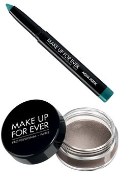 """""""I like to add a pop of color to the eyes with a waterproof formula. I love a lick of Make Up For Ever Aqua Color. It stays on and comes in a ton of fun colors. The also now come in a pencil, making them super easy to use. If you're using a bright pop of color, you can even forgo mascara, which even in a waterproof formula can melt off in the heat."""" Make Up For Ever Aqua Cream in Steel, $23, sephora.com; Make Up For Ever Aqua-Matic in Iridescent Turquoise, $21, sephora.com…"""