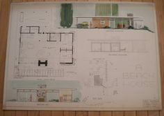 """maybe I am crazy? but I LOVE this!    1950's original Architect drawing plan """"Beach House"""" 