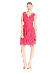 Adrianna Papell Womens VNeck Sleeveless Fit and Flare Dress Coral 10 -- You can find out more details at the link of the image.