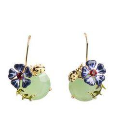Boucles d'oreilles Doré-Vert opale-Violet by LES NEREIDES