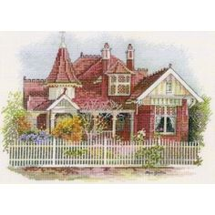 Queen Anne Style House - A DMC cross stitch pattern, design by Olga Gostin
