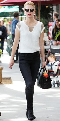 January Jones in a knitted tee with metallic detailing and dark AG jeans, styling her look with gold jewelry, cool black shades, a black Loewe bag and black lace-up ankle boots. Modest Dresses, Modest Outfits, Classy Outfits, Nice Dresses, Teen Girl Outfits, Outfits For Teens, Style Stealer, January Jones, Ag Jeans