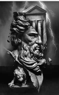 Zeus Tattoo, Poseidon Tattoo, Statue Tattoo, Best Sleeve Tattoos, Tattoo Sleeve Designs, Tattoo Sketches, Tattoo Drawings, Tattoo Studio, Samurai Tattoo Sleeve
