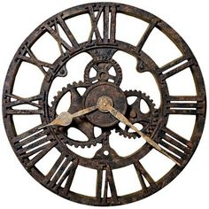 "Howard Miller Allentown 21 1/2"" Wide Rusted Wall Clock--very steampunk"