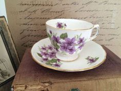 Vintage Royal Vale Tea Cup and Saucer Purple Violets Royal Vale Bone China Made in England Ridgway Potteries