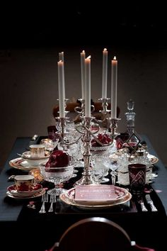 #gothictablescape silver candelabra crystal and glass