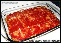 Bodybuilding.com - Jamie Eason's LiveFit Recipes: Jamie's Monster Meatloaf - Makes 24 servings - Single serving = 83 calories, .7 g fat, 3 g carbs, 15 g protein