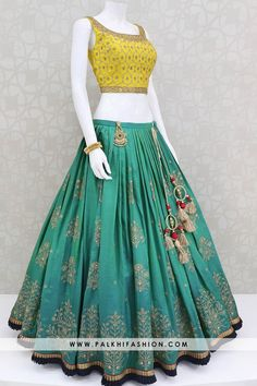Gorgeous Pure Silk Lehenga Set With Beautiful Color Combination - - Palkhi fashion presents rama green designer lehenga choli with light mustard yellow pure silk blouse & rani pink pure silk dupatta. Indian Fashion Dresses, Indian Bridal Outfits, Indian Designer Outfits, Indian Lehenga, Lehenga Choli, Silk Dupatta, Choli Designs, Lehenga Designs, Silk Kurti Designs