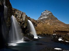 Kirkjufellsfoss in a Moonlight - Snæfellsnes, west Iceland