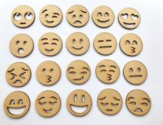 Wooden Emoji set of 20 MDF laser cut craft design, embellishments