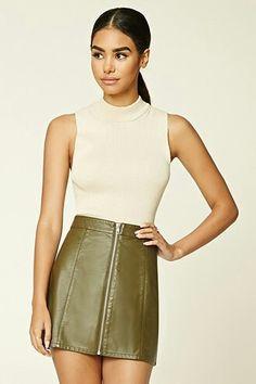 Faux leather zipper mini skirt..f21