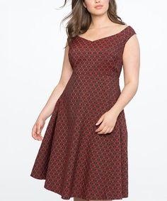 Plus Size Black Heartbreaker Print Knit Flare Dress