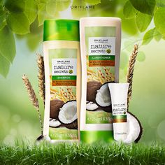 By Oriflame Cosmetics Nature Secret, The Secret, Shampoo, Conditioner, Coconut, Cosmetics, Drinks, Bottle, Blush