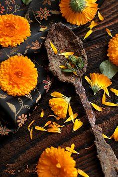 Zen w kuchni food photography nagietki flowers