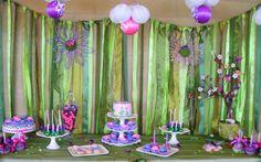 love the backdrop!  garden theme baby shower