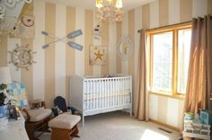 nautical room; love how it is almost beachy with the tan and white stripes