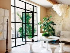 L& de Vivre en France. This restored home in France is beyond what one would expected it to be - the use of the old and new is perfectly balanced and the minimal a Provence Interior, Colored Ceiling, Ceiling Color, Create A Family, European House, Minimalist Decor, Decoration, French Doors, Light In The Dark