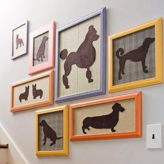 Dog silhouette art - like the idea of diff backgrounds and colored frames.  Could be reeeeally cute in girly colors!
