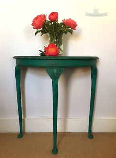 Vintage half moon console table. Hall table. Lamp table. Side table. Occasional table. by BrambleandBerries on Etsy Annie Sloan / Florence Green / Vintage furniture