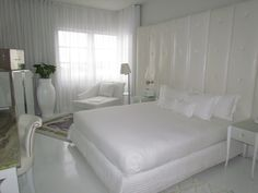 LOVE this bedroom look - read more on DailyKaty.com - this room is from the Delano Hotel in South Beach, Miami