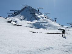 very helpful photo of Mt. Hood north side routes and features.