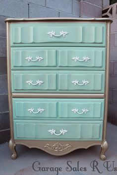 Garage Sales R Us: mint and gold bedroom set