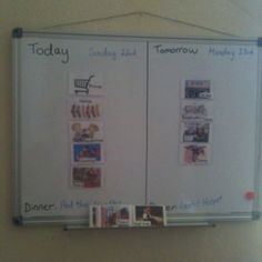 New visual schedule with magnetic whiteboard - brilliant!